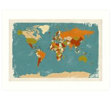 Retro Political Map of the World Art Print