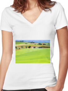 Rolling green hills with trees Photographed in Tuscany, Italy Women's Fitted V-Neck T-Shirt