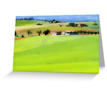 Rolling green hills with trees Photographed in Tuscany, Italy Greeting Card
