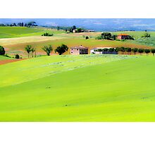 Rolling green hills with trees Photographed in Tuscany, Italy Photographic Print
