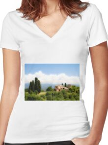 farmhouse in Tuscany, Italy Women's Fitted V-Neck T-Shirt