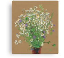 Meadow flowers, floral painting Canvas Print