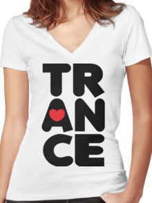 Trance Tower Music Quote Women's Fitted V-Neck T-Shirt
