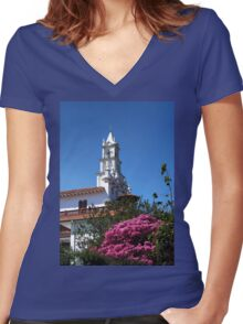Todos Santos Church Is Striking Women's Fitted V-Neck T-Shirt