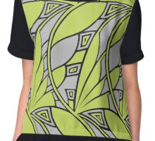 Modern art nouveau tessellations green and gray Chiffon Top