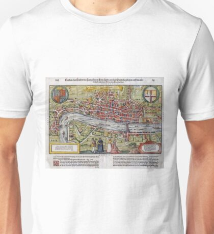 Vintage Map of London England (1598) Unisex T-Shirt