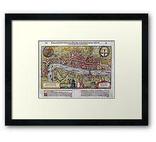 Vintage Map of London England (1598) Framed Print