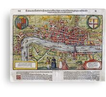 Vintage Map of London England (1598) Canvas Print