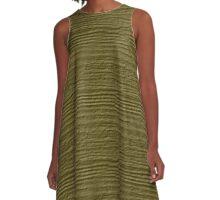 Green Moss Wood Grain Texture A-Line Dress