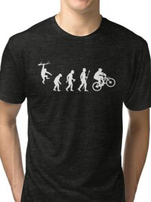 Funny Mountain Biking Evolution Tri-blend T-Shirt