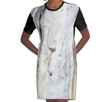 Down to Earth - Textured Bark Graphic T-Shirt Dress
