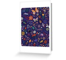 Butterflies, beetles & blooms - French navy Greeting Card
