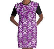 Damask Silver Grey Royal Purple Classic Elegant Graphic T-Shirt Dress