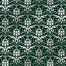 Damask Silver Grey Dark Green Classic Elegant by Beverly Claire Kaiya