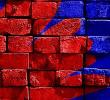 Red and Blue Brickwork Art by emilysmithart