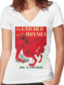 The Catcher in the Rhymes (feat. D.J. Salinger) Women's Fitted V-Neck T-Shirt