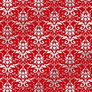 Damask Silver Grey Venetian Red Classic Elegant by Beverly Claire Kaiya