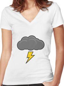Cartoon Thundercloud!! Women's Fitted V-Neck T-Shirt