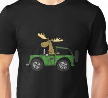 Cool Funky Moose Driving Camouflaged Vehicle Unisex T-Shirt