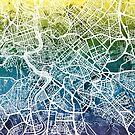 Rome Italy City Street Map by Michael Tompsett