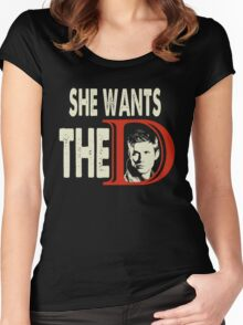 She Wants The D - She Wants The Dean  Women's Fitted Scoop T-Shirt