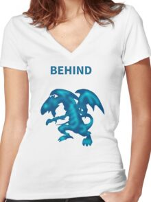 Behind Blue-Eyes W. Dragon Women's Fitted V-Neck T-Shirt
