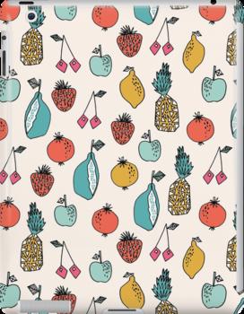Tutti Fruit Pattern - Cream by Andrea Lauren by Andrea Lauren