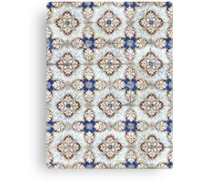 Portuguese tiles. Kaleidoscopic blue and brown pattern Canvas Print