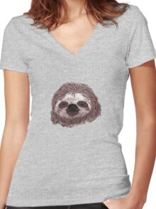 Realistic Sloth Face Women's Fitted V-Neck T-Shirt