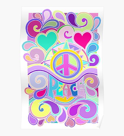 Psychedelic Hippy Retro Peace Art Poster