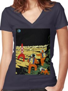 Explorers on the Moon Women's Fitted V-Neck T-Shirt