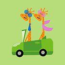 Giraffes and Car Throw Pillows, Tote Bag Green by Vitta