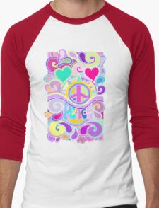 Psychedelic Hippy Retro Peace Art Men's Baseball ¾ T-Shirt
