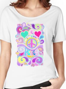 Psychedelic Hippy Retro Peace Art Women's Relaxed Fit T-Shirt