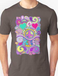 Psychedelic Hippy Retro Peace Art Unisex T-Shirt
