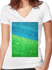 Field of Dreams original painting Women's Fitted V-Neck T-Shirt