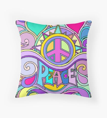 Psychedelic Hippy Retro Peace Art Throw Pillow