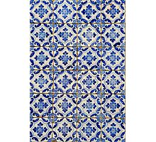 Portuguese tiles. Blue flowers and leaves Photographic Print