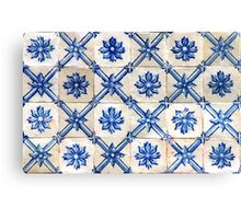 Portuguese tiles. Blue flowers and trellis Canvas Print