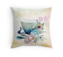Romantic peacock teacup and rose Throw Pillow