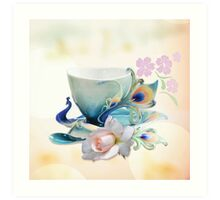 Romantic still life with Peacock teacup, Rose and cherry fowers Art Print