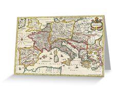 Vintage Map of Europe (1657) Greeting Card