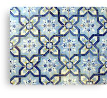Portuguese tiles. Blue flowers and background Canvas Print
