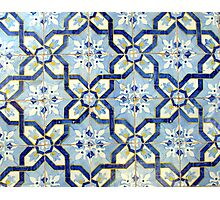 Portuguese tiles. Blue flowers and background Photographic Print