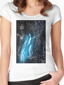 Robot Angel Painting 021 Women's Fitted Scoop T-Shirt