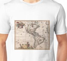 Vintage Map of North and South America (1658) Unisex T-Shirt