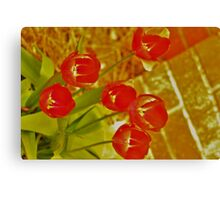 The Red Lightening Tulips Canvas Print