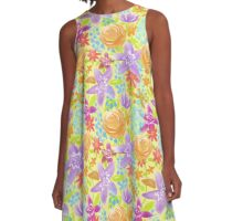 Fun Flowers Summer Garden A-Line Dress