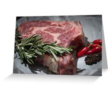 raw steak with pepper on wood Greeting Card