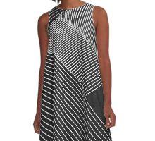 Line Art - Geometric Illusion, abstraction no. 2 A-Line Dress